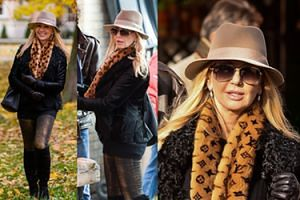 Żona Hollywood na jesiennym spacerze (ZDJĘCIA)