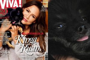"Kinga Rusin z psem na okładce ""Vivy"""