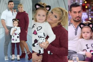 Szczęśliwa Skrzynecka z córką i mężem pozują w korytarzu TVP (ZDJĘCIA)