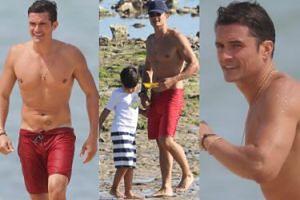 40-letni Orlando Bloom pręży mięśnie na francuskiej plaży. Seksowny? (ZDJĘCIA)