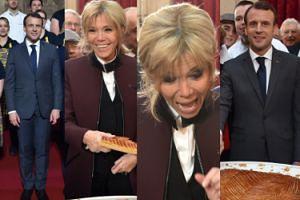 Roześmiana Brigitte Macron z mężem kroi ciasto na święto Trzech Króli (ZDJĘCIA)