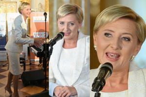 Uśmiechnięta Agata Duda w bieli przemawia na dobroczynnej gali (ZDJĘCIA)
