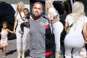 OGROMNE pośladki Kim Kardashian na spacerze z Kanye i dziećmi (ZDJĘCIA)