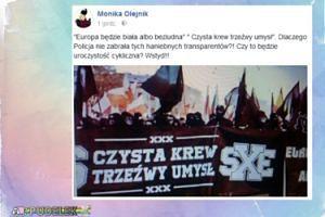 """Olejnik oburzona: """"Dlaczego policja nie zabrała tych haniebnych transparentów?"""""""