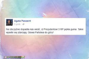 """Agata Passent: """"Dopadła nas wieść, iż Prezydentowi 3 RP pękła guma"""""""