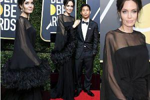 Dostojna Angelina z synem na Złotych Globach. Zdenerwowała Aniston? (ZDJĘCIA)