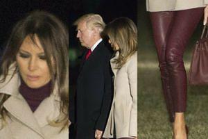 Melania w OBCISŁYCH, SKÓRZANYCH spodniach wraca z Donaldem i Barronem do Białego Domu. Seksowna?