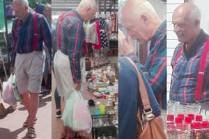 Korwin w szelkach i sandałach ogląda naczynia na straganach (ZDJĘCIA)
