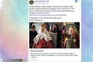 """TVP prosi o niekomentowanie posta na temat powtórek """"Korony królów"""""""