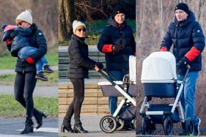 Zielińska z miesięcznym synkiem i resztą rodziny na zimowym spacerze (ZDJĘCIA)