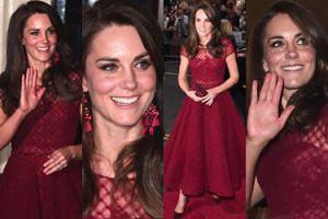 """""""Niesamowicie elegancka"""" Kate Middleton w bordowej kreacji bawi się w teatrze (ZDJĘCIA)"""