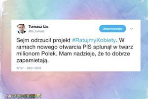 """Tomasz Lis o projekcie """"Ratujmy Kobiety"""": """"PiS splunął w twarz milionom Polek"""""""