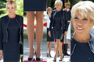 Brigitte Macron w mini i z torebką za 16 tysięcy w Bukareszcie (ZDJĘCIA)