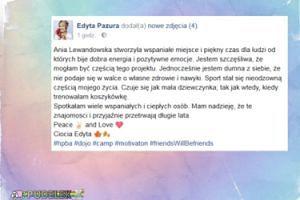Edyta Pazura zachwala obóz Lewandowskiej