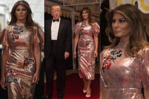Błyszcząca Melania Trump towarzyszy mężowi na balu sylwestrowym (ZDJĘCIA)