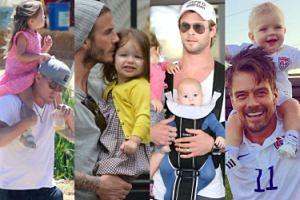 Najseksowniejsi ojcowie show biznesu: Beckham, Tatum, Hemsworth... (ZDJĘCIA)