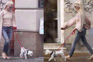 """""""Modna"""" Margaret z psem na spacerze (WIDEO)"""