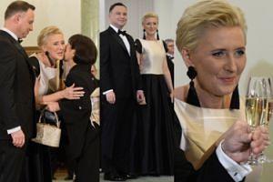 Elegancka Agata Duda wita dyplomatów szampanem (ZDJĘCIA)