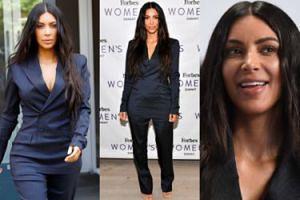 """Elegancka Kim Kardashian w garniturze na imprezie """"Forbesa"""" (ZDJĘCIA)"""
