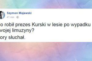 """Majewski: """"Co robił prezes Kurski w lesie po wypadku swojej limuzyny?"""""""