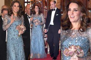 Księżna Kate chowa ciążowy brzuszek pod cekinową suknią (ZDJĘCIA)