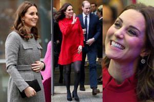 Ciężarna księżna Kate w czerwonej sukience i zadowolony William w Manchesterze (ZDJĘCIA)
