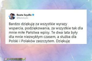 """Beata Szydło odchodząc: """"Te dwa lata były dla mnie niezwykłym czasem"""""""