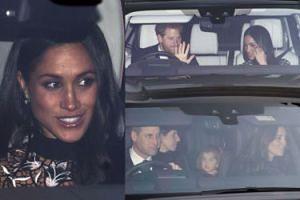 Meghan, Harry, Kate i William wracają ze świątecznego spotkania z królową (ZDJĘCIA)