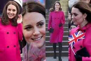 Ciężarna księżna Kate w różowym płaszczu za pięć tysięcy cieszy się ze spotkania z poddanymi (ZDJĘCIA)