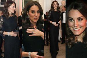 Księżna Kate chowa brzuszek pod czarnymi koronkami (ZDJĘCIA)