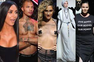 Tydzień mody w Nowym Jorku: modelki w hidżabach, polityczne hasła, piersi Kim i więzień na wybiegu (ZDJĘCIA)