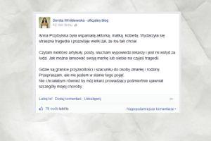 Dorota Wróblewska krytykuje lekarza Przybylskiej