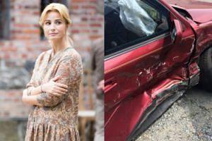 """Joanna Brodzik spowodowała wypadek samochodowy! """"Przejechała przez wysepkę niszcząc znak"""""""