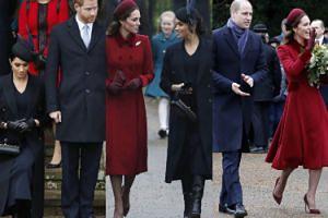 Księżne Kate i Meghan wychodzą ramię w ramię ze świątecznej mszy (ZDJĘCIA)