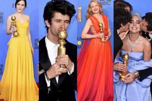 Złote Globy 2019: Laureaci pozują ze statuetkami: Gaga, Brosnahan, Clarkson... (ZDJĘCIA)