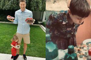 Robert Lewandowski z kawałkiem tortu i Klarą przy nodze świętuje swoje 31. urodziny