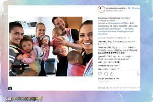 """Lewandowska promuje """"trening w chustach z dziećmi"""""""