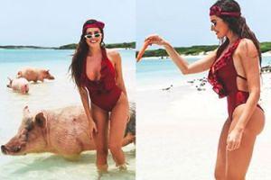 Dziewczyna Grzegorza Krychowiaka pływa ze świniami na Bahamach (FOTO)