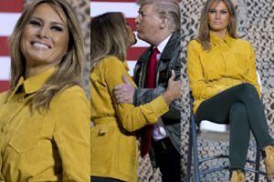 Zadowolony Donald i uśmiechnięta Melania wymieniają czułości w wojskowej bazie w Iraku (ZDJĘCIA)