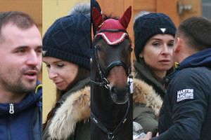 Dubieniecki patrzy maślanym wzrokiem na Kaczyńską w otoczeniu koni (ZDJĘCIA)