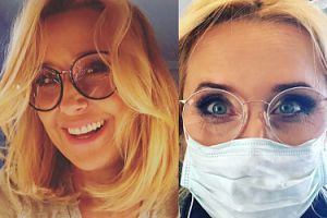 """Agata Młynarska w chirurgicznej masce. """"Lepiej unikać zarażenia infekcjami"""""""