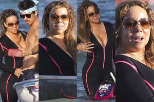 Szczęśliwa Mariah Carey kajakuje z kochankiem, dziećmi i ściśniętym biustem (ZDJĘCIA)