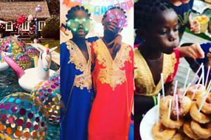 Tort z pączków, afrykańskie stroje i dmuchane jednorożce - tak wyglądały urodziny bliźniaczek Madonny! (FOTO)