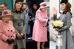 Skromna księżna Kate przestrzega etykiety podczas wspólnego wyjścia z królową Elżbietą (ZDJĘCIA)