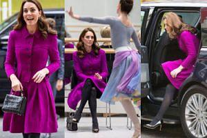 Purpurowa księżna Kate wysiada z gracją z samochodu i zmierza na spotkanie w szkole baletowej (ZDJĘCIA)