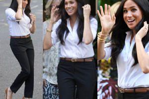 Meghan Markle w kolczykach księżnej Diany rozsyła uśmiechy na premierze swoich ubrań (FOTO)