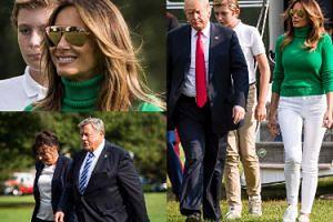 Obfity biust Melanii w zielonym golfie wraca do Białego Domu z mężem, synem i rodzicami (FOTO)