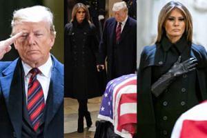 Żałobna Melania Trump z mężem składają hołd George'owi H. W. Bushowi (ZDJĘCIA)