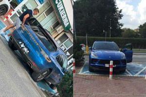 TYLKO NA PUDELKU: Cezary Pazura parkuje Porsche za 300 TYSIĘCY na miejscu dla niepełnosprawnych (FOTO)