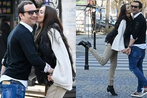Eleganccy Misiek Koterski i Marcela Leszczak zadzierają nogi do pocałunku
